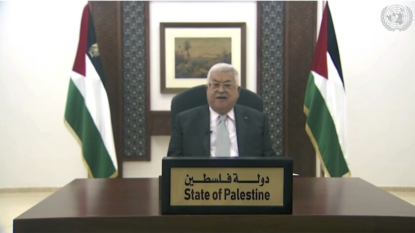 Palestinian President Mahmoud Abbas' speech was played during the U.N. General Assembly on Friday.