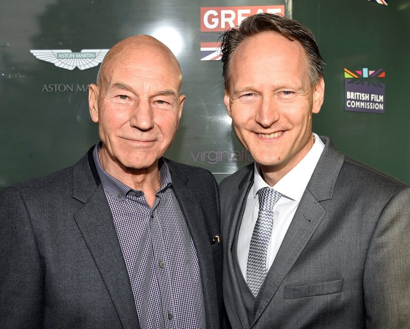 Actor Patrick Stewart, left, and British Consul General Chris O'Connor honor the British nominees of the 87th annual Academy Awards.