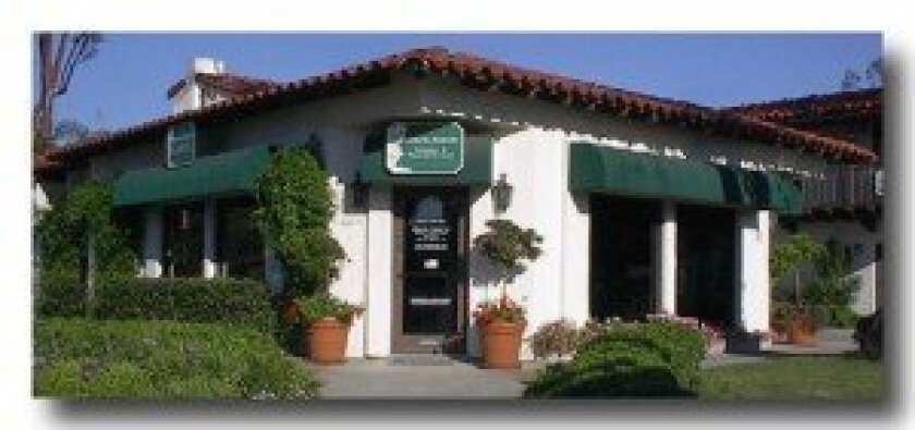The exterior of the Rancho Santa Fe Insurance office in Rancho Santa Fe.