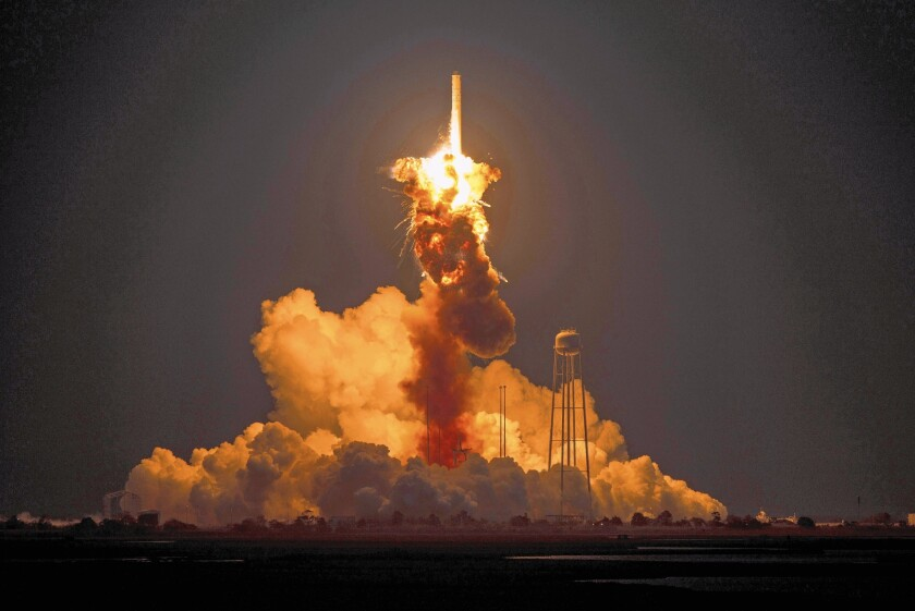 Orbital Sciences Corp.'s unmanned Antares rocket explodes moments after launch at a NASA facility in Virginia in October 2014.