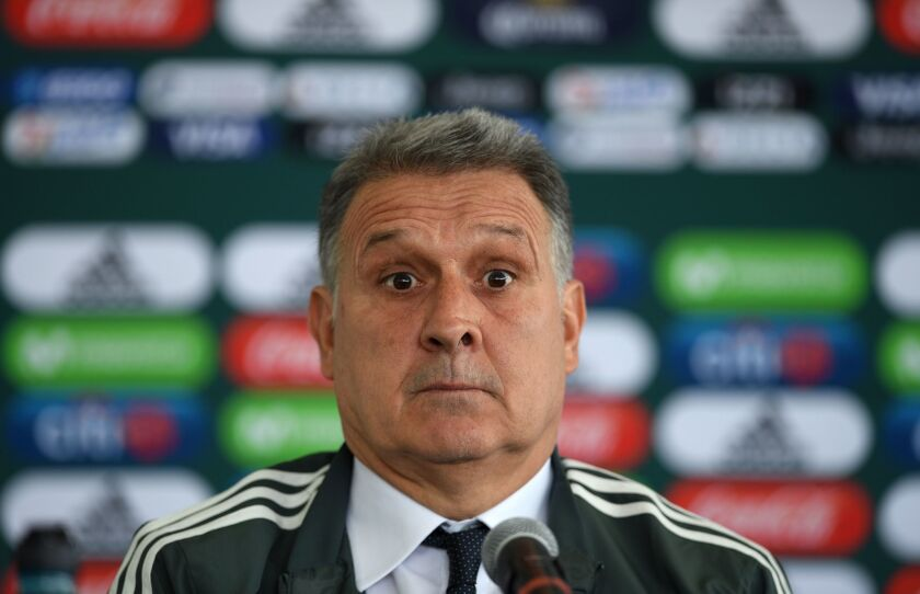 "Argentine coach Gerardo ""Tata"" Martino reacts during his presentation as new coach of the Mexican national football team, at the High Performance Centre (CAR) on the outskirts of Mexico City on January 7, 2019."