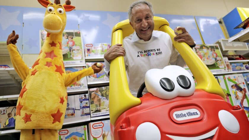 Isaac Larian, chief executive of MGA Entertainment, maker of the Little Tikes brand, made a $675-million bid Friday to save 274 U.S. Toys R Us stores. Above, Larian at one of the retailer's stores in Woodland Hills last month to film a video for a GoFundMe campaign.