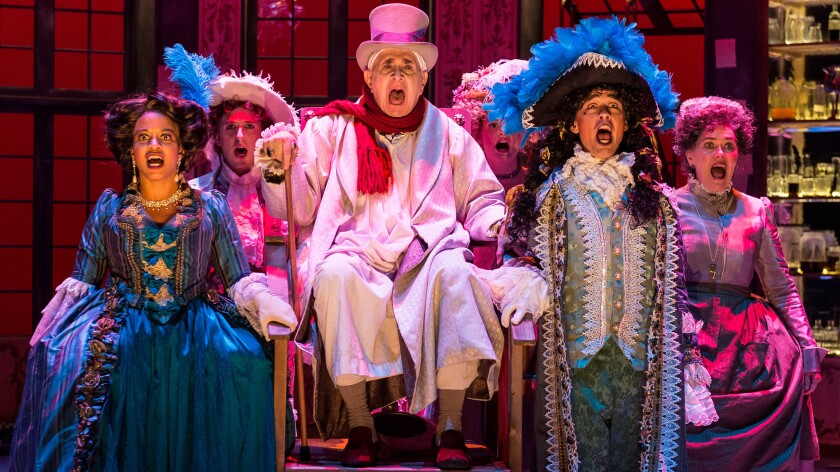"Apollo Dukakis, seated, stars as Argan in A Noise Within's ""The Imaginary Invalid."""