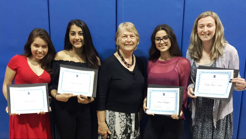 Burbank High School Merit Scholarship winners, from left, Rebecca Galvez, Sanam Patel, Panhellenic m