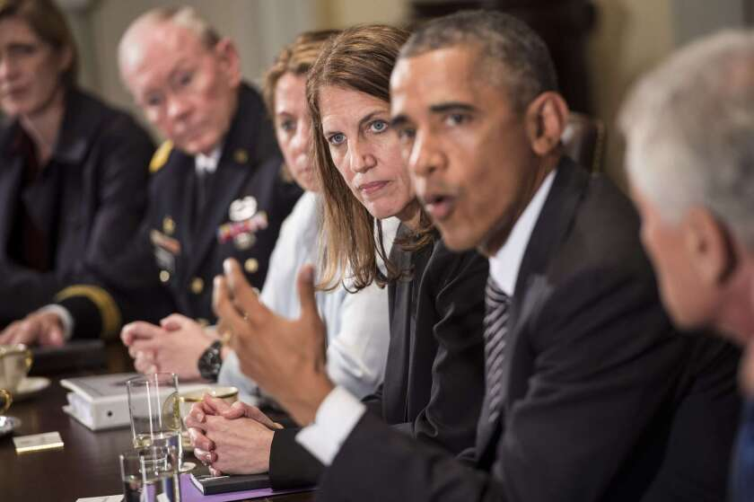 President Obama speaks after meeting in the White House with top officials on the U.S. response to the Ebola outbreak.