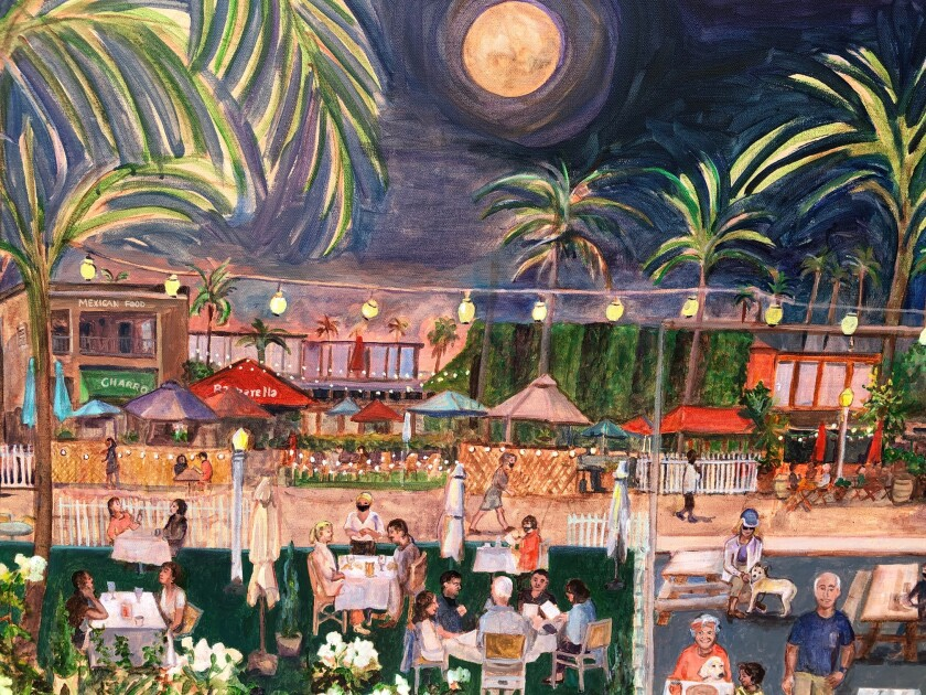 La Jolla Shores resident and artist Paula McColl painted this scene of The Shores' outdoor dining program.