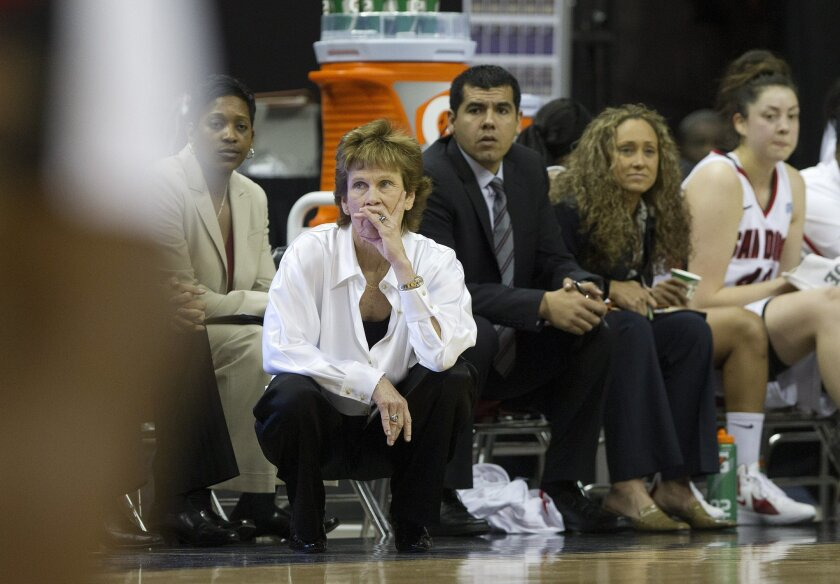 Aztecs head coach Beth Burns watches her team play versus New Mexico during the championship game of the Mountain West Tournament in Las Vegas Saturday.