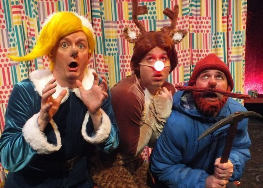 """Kyle Nudo, left, Steven Booth and Mike Sulprizio in """"Rudolph the Red-Nosed ReinDOORS"""" at the Falcon."""
