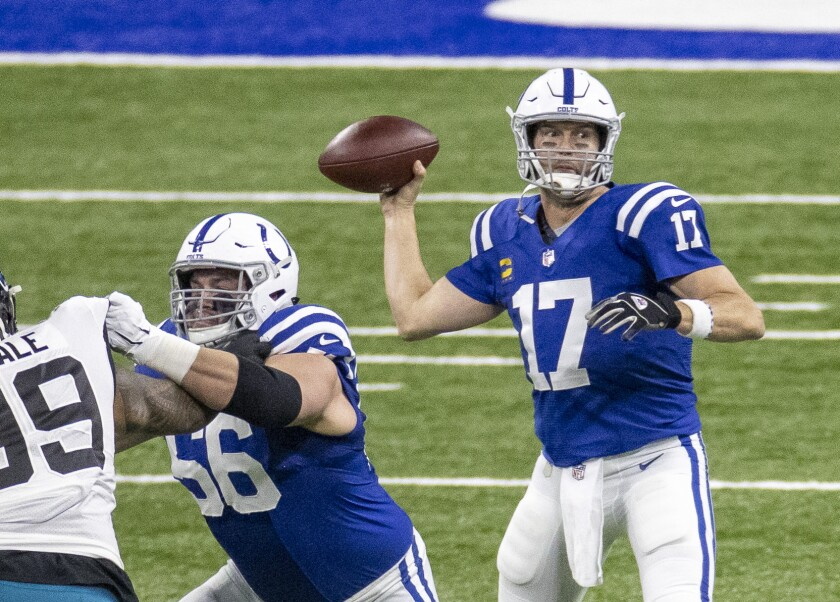 Philip Rivers of the Indianapolis Colts passes the ball during the first quarter.