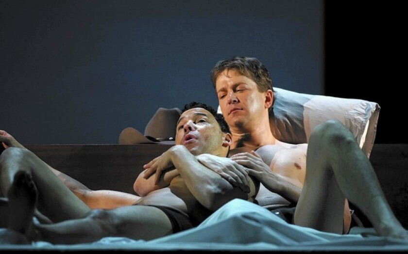 """Tom Randle as Jack Twist and Daniel Okulitch as Ennis del Mar in the opera """"Brokeback Mountain"""" at the Teatro Real in Spain."""