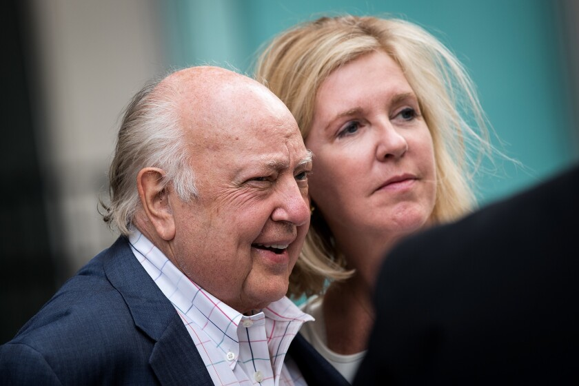 Former Fox News Chairman Roger Ailes with his wife, Elizabeth Tilson, in July.