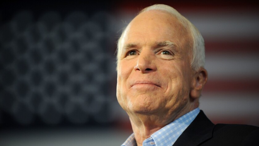 The late Sen. John McCain, shown during the 2008 presidential campaign, was revered for his personal courage and his old-fashioned civility in political battle. He died Saturday at age 81.