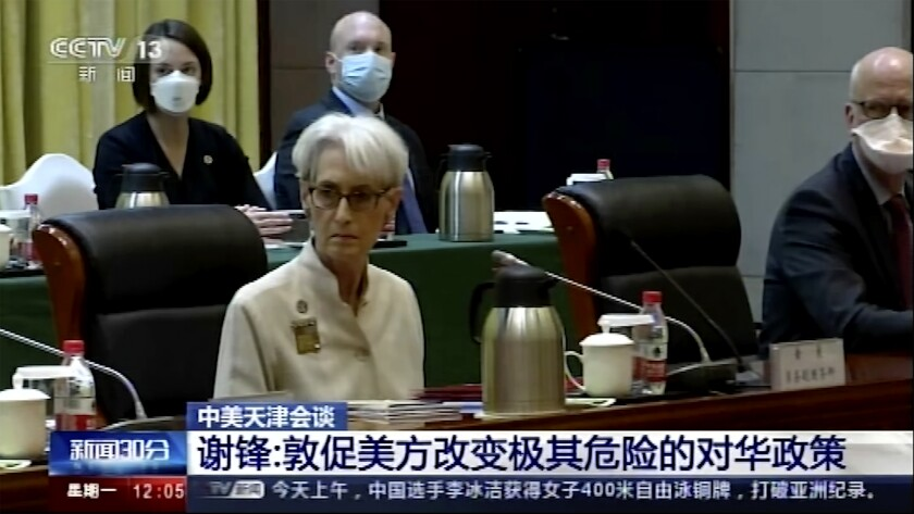 U.S. Deputy Secretary of State Wendy Sherman and her delegation are shown in this image taken from video footage