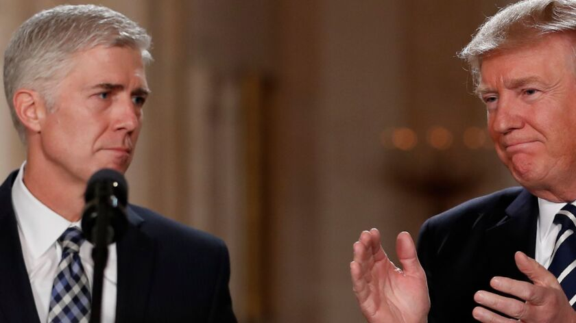 President Trump with Supreme Court nominee Neil Gorsuch in January.