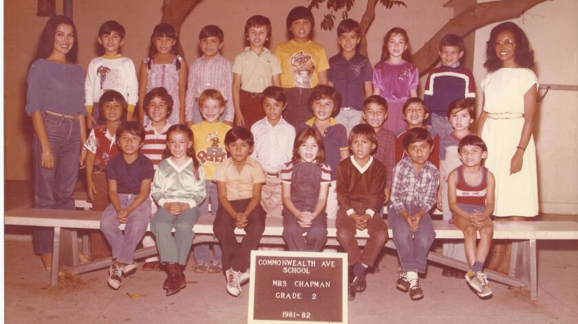 A young Alex Lacamoire, in the striped shirt in the second row. His teacher Dorothy Chapman is on th