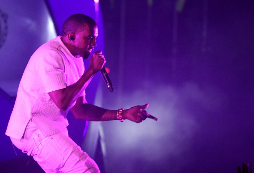 In this July 1, 2012, file photo, Kanye West performs at the BET Awards in Los Angeles.