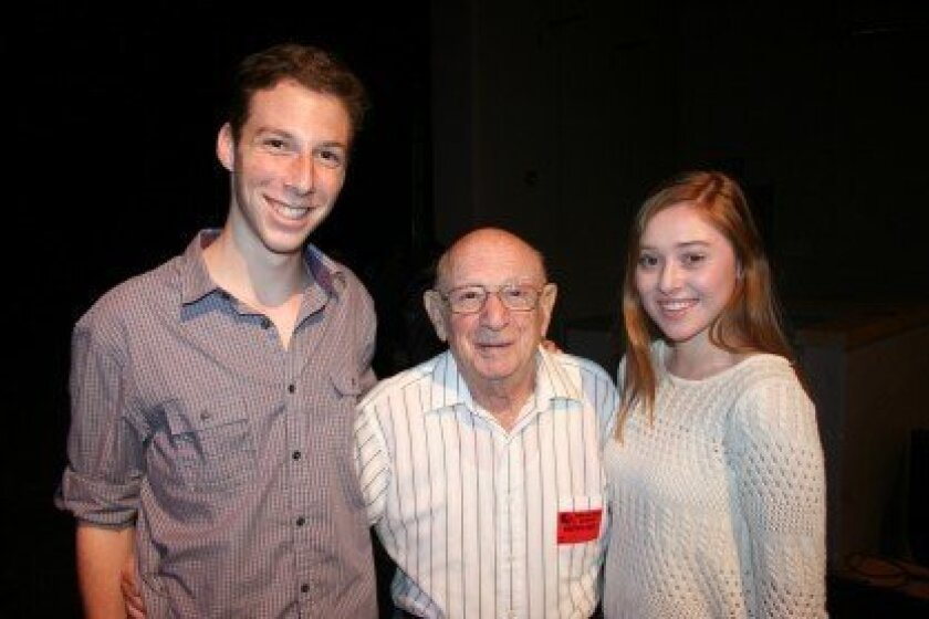 SLATE Club president Yoel Ferdman with Holocaust survivor Horst Cahn and Layla Jaffe.