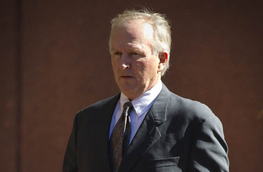 """Former Poway defense contractor Brent Wilkes was convicted in federal court in 2007 of bribing former Rep. Randy """"Duke"""" Cunningham, R-Rancho Santa Fe., arrives in federal court Tuesday for a hearing before U.S. District Judge Larry A. Burns."""