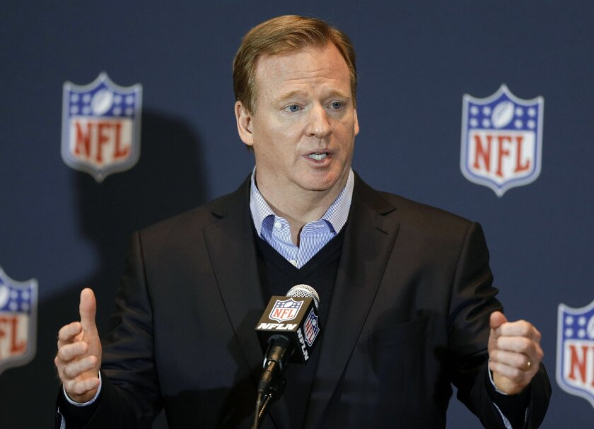 "FILE - in this March 26, 2014, file photo, NFL Commissioner Roger Goodell answers questions during a news conference in Orlando, Fla. Goodell says the league asked for, but was not given, a just-released video showing former Baltimore Ravens running back Ray Rice hitting his then-fiancee on an elevator. Goodell says during an interview with CBS aired Tuesday, Sept. 9, 2014: ""We assumed that there was a video. We asked for video. But we were never granted that opportunity."" (AP Photo/John Raoux, File)"