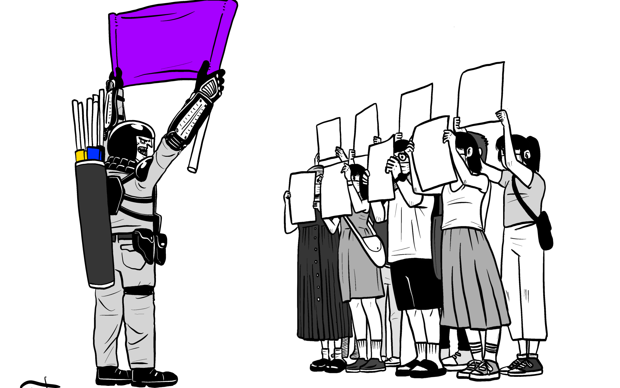 A cartoon by Hong Kong artist Kit Man depicts protesters facing police with blank sheets of paper.
