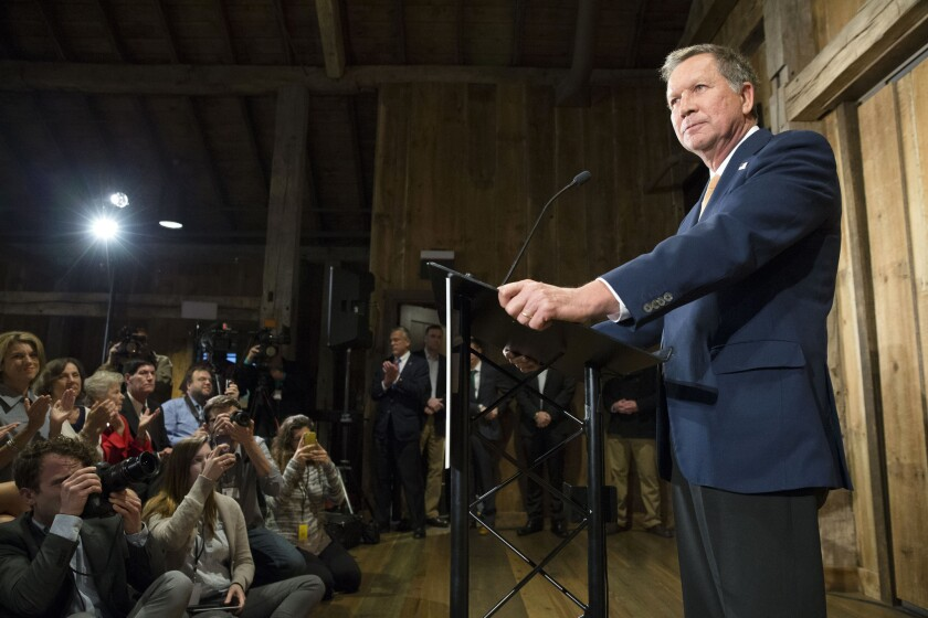Ohio Gov. John Kasich speaks in Portland, Ore., last week.