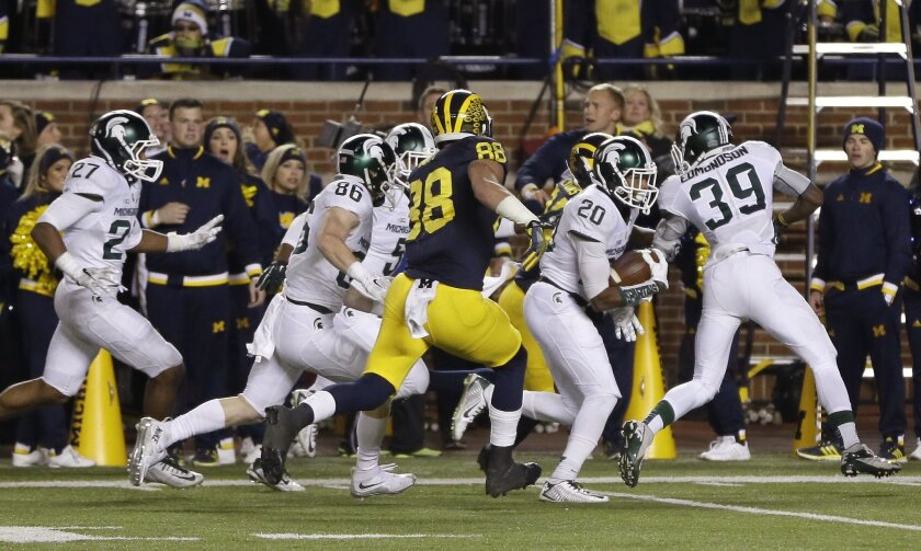 FILE - In this Oct. 17, 2015, file photo, Michigan State defensive back Jalen Watts-Jackson (20) runs toward the end zone after recovering a fumbled Michigan snap on a punt in the closing seconds of an NCAA college football game, Saturday, Oct. 17, 2015, in Ann Arbor, Mich. Watts-Jackson lumbered 3