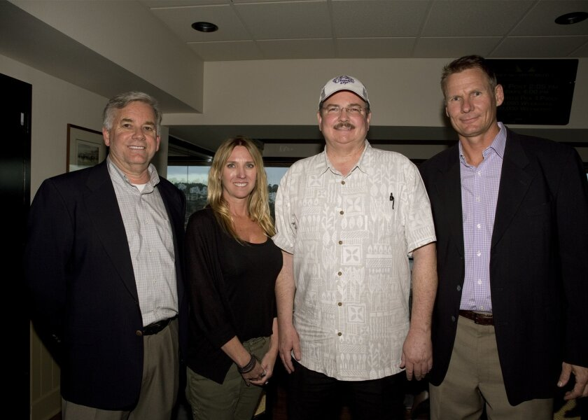 Top three finishers at the recent Del Mar Handicapping Contest (from left) Jim Atwell, Jeannie King and champion Mark Streiff with Chris Bahr, director of events and promotions at Del Mar.