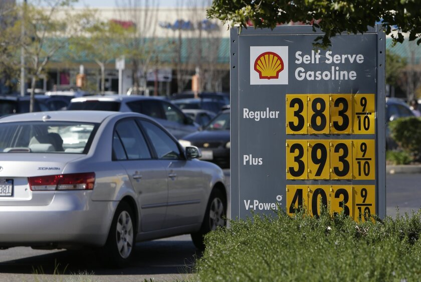 In this photo taken Friday March 7, 2014,  gas prices are displayed at a Shell station in Sacramento, Calif.  Starting 2015 California motorists will be hit in the pocketbook by the state's greenhouse gas reduction law AB32.  Signed into law by Gov. Arnold Schwarzenegger in 2006, AB32 will force fu