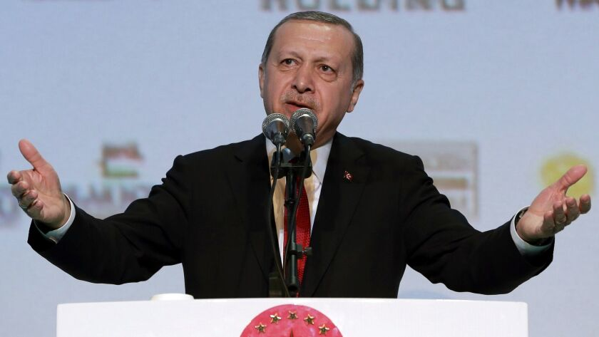 Turkish President Recep Tayyip Erdogan addresses a business meeting in Istanbul on Nov. 9, 2016. (Murat Cetinmuhurdar / Pool Photo)