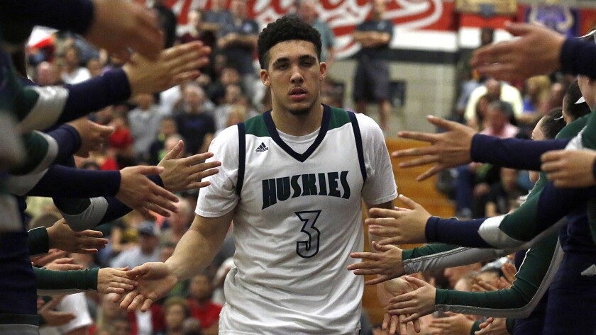 LiAngelo Ball, seen before a game last season, scored 30 points against Crespi on Tuesday night.