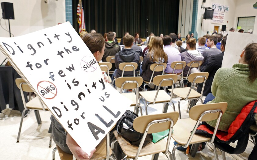 Lancaster, N.Y., school board meeting