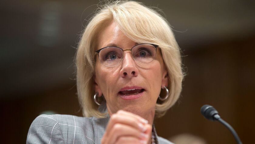 US Secretary of Education Betsy DeVos appears before a Senate Appropriations subcommittee hearing, Washington, USA - 05 Jun 2018