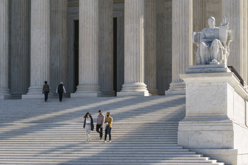 The Supreme Court is seen in Washington, Saturday, Oct. 3, 2020. The high court, which begins its new term in the coming week, is confronting cases related to the election and to religious rights. (AP Photo/J. Scott Applewhite)