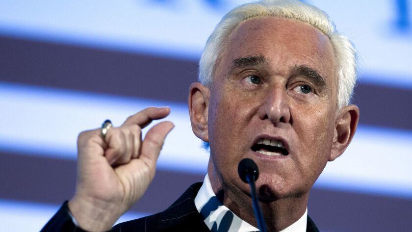 FILE - In this Dec. 6, 2018, file photo, Roger Stone speaks at the American Priority Conference in W