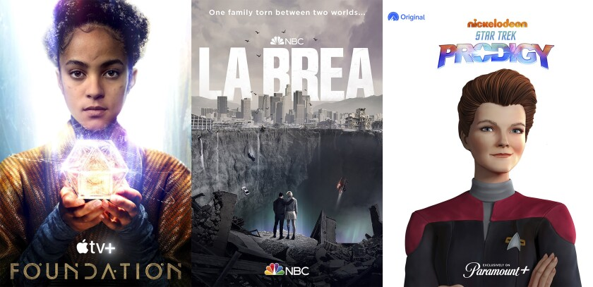"""This combination of photos shows promotional art for the series """"Foundation,"""" premiering Sept. 24 on Apple TV+, """"La Brea,"""" premiering Sept. 18 on NBC and """"Star Trek: Prodigy,"""" premiering this fall on Paramount+. (AppleTV+/NBC/Paramount+ via AP)"""