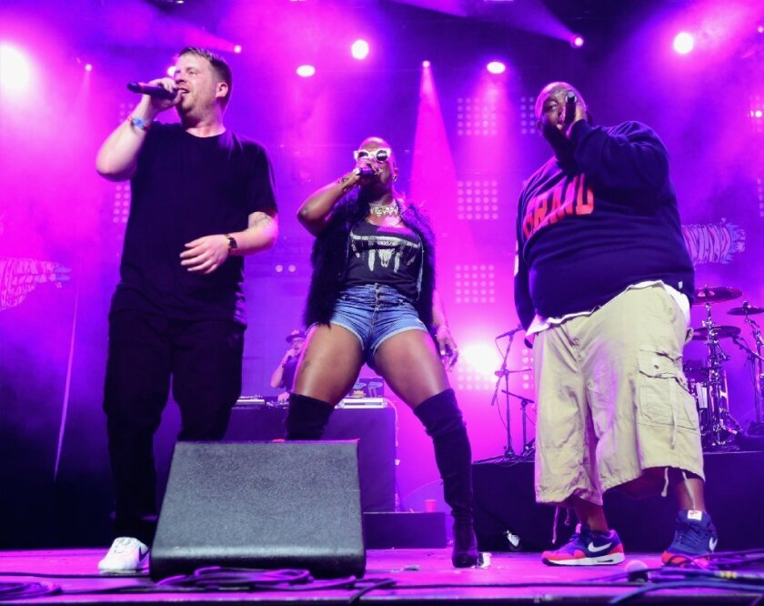 Left to right, El-P, Gangsta Boo and Killer Mike perform April 11 at the Coachella Valley Music and Arts Festival in Indio, Calif.