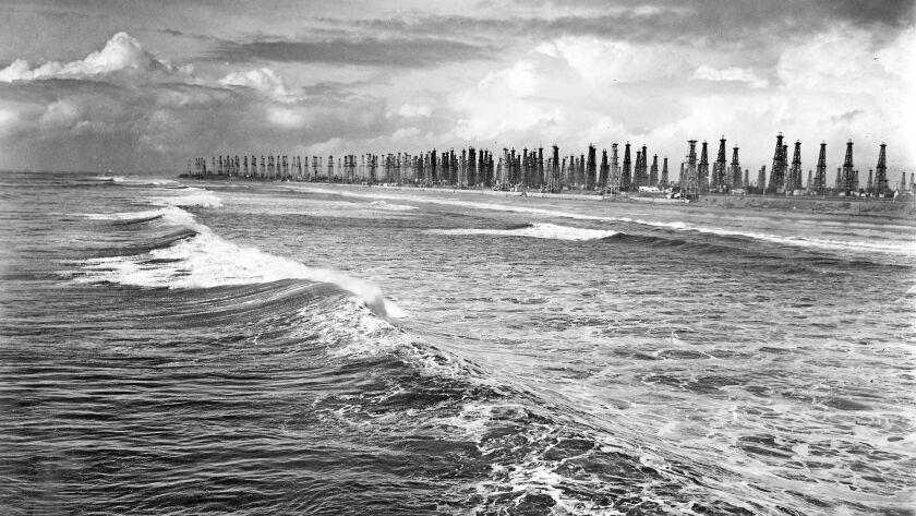 The Huntington Beach coastline in 1940 was a forest of oil derricks.