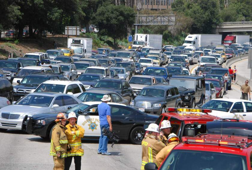 Eastbound traffic on the 134 Freeway is clogged by an accident.