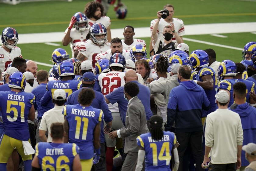 The Giants and Rams scuffled at the end of their game last weekend.