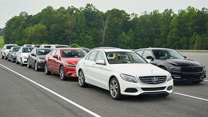 Cars undergo Insurance Institute for Highway Safety tests of foward-collsion avoidance systems.