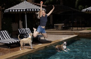 Poolside with Kaley Cuoco, Norman, Shirley, Rose and friends