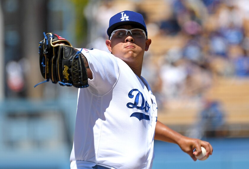 Dodgers pitcher Julio Urias was visibly shaken after he hit former Dodgers prospect Willie Calhoun in the face with a fastball during spring training Sunday.