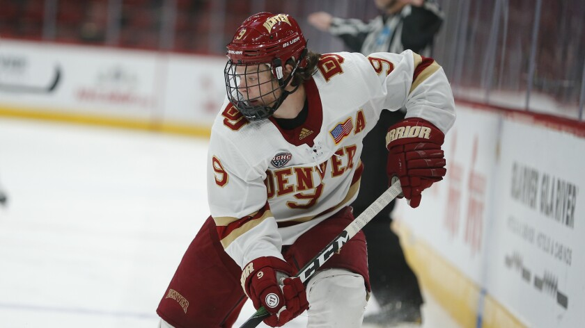 Denver forward Tyson McLellan skates during a game against Arizona State on Dec. 7.