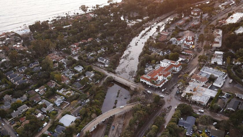 MONTECITO, CA – JANUARY 10, 2018: The 101 Freeway remains closed as mud and debris clog the roadw