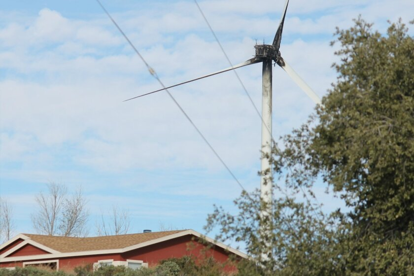 A view of the Kumeyaay Wind farm, Campo Indian Reservation, in the hours after a turbine caught fire.