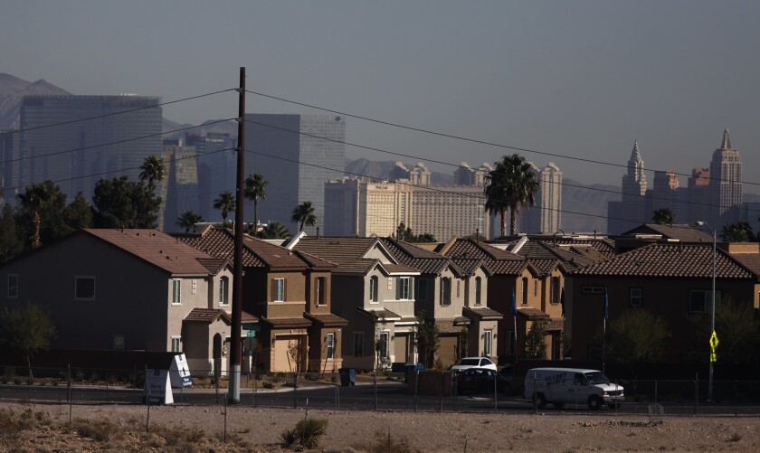 Las Vegas homes with the Strip in the background