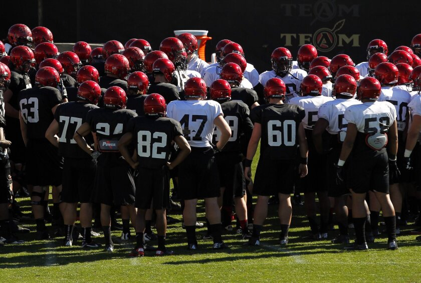 The SDSU football team gathers at the start of practice.