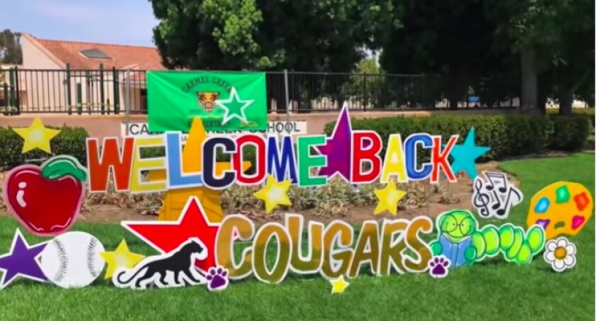 A welcome back sign at Carmel Creek School in Carmel Valley.