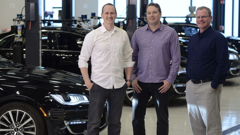 Aurora Innovation's founders — Sterling Anderson, left, Chris Urmson and Drew Bagnell — are legendary within the community of roboticists and engineers leading the charge to make self-driving cars.