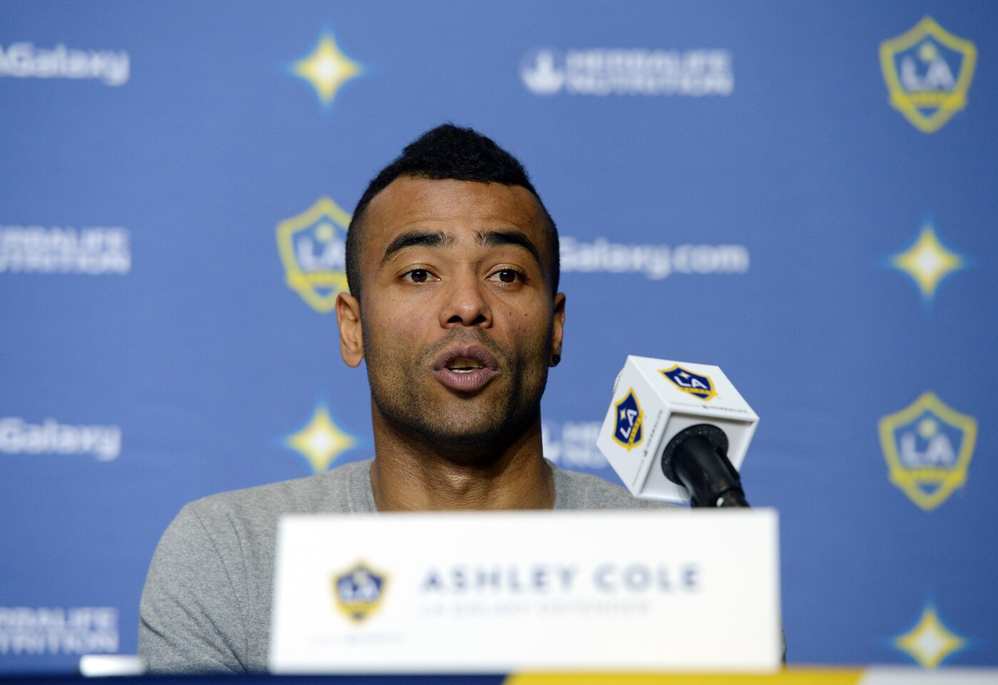 CARSON, CA - FEBRUARY 5: Ashley Cole #3 of the Los Angeles Galaxy speaks after he was introduced during a news conference at StubHub Center February 5, 2016, in Carson, California. (Photo by Kevork Djansezian/Getty Images) ** OUTS - ELSENT, FPG, CM - OUTS * NM, PH, VA if sourced by CT, LA or MoD **